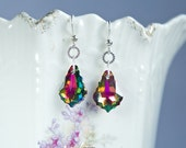 Peacock and rainbow colored Vitrail medium Swarovski earrings, green, purple, sterling silver with baroque shaped crystals, sparkly earrings
