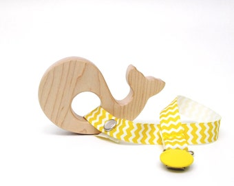Teething Ring - Whale  - Wooden Baby Toy - Baby Gifts by Bannor Toys
