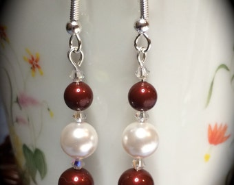 Swarovski Bordeaux and White Glass Pearl Dangle Earrings