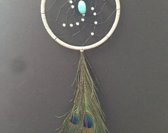 Gray Dream Catcher with Peacock Feathers, Turquoise, Silver Beads, Gray Dreamcatcher, Peacock Dreamcatcher, Grey Dream Catcher, Great Gift!