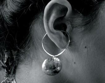 Hoop Style Ear Cuffs, Ear Wraps, Earcuff, Non Pierced Earrings, Pair of Silver Ear Cuffs with Domed Disc Dangles