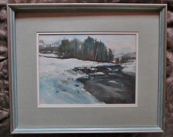 Original Watercolor Painting by Jerry Stitt Master Watercolor Painter Winter River Watercolor Original Art Signed by Artist Framed