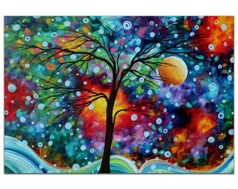 Whimsical Tree Art 'A Moment in Time' Colorful Abstract Landscape, Fantasy Trees, Rainbow Metal Painting Giclee by Megan Duncanson