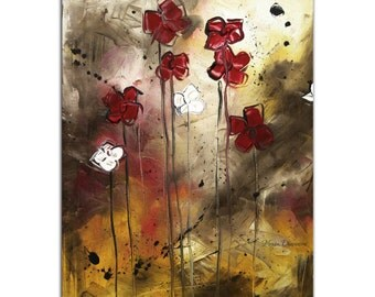 Abstract Flower Art 'Floral Arrangement' Modern Landscape Artwork, Contemporary Earth Tones Painting Metal Giclee by Megan Duncanson