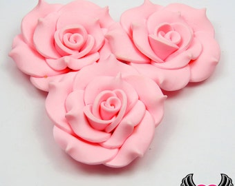 42mm Light Pink Polymer Clay Rose Flatback Cabochons ( 3 pieces ), Flower Cabochons, Large Flower