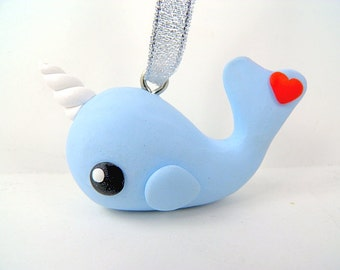 Narwhal Christmas Ornament Polymer Clay