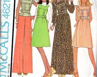 "1970s Women's Maxi Dress, Jumper & Top Pattern - Size 10, Bust 32 1/2"" - McCall's 4621"
