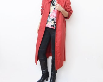 Vintage red 80s women trench coat / rain mac maxi outerwear