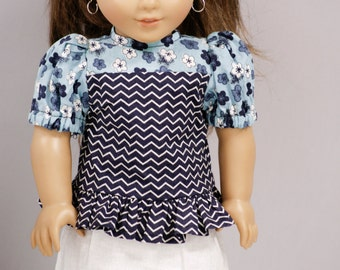 "American Doll Clothes Girl 18"" - Chevron Ruffle Shirt and White Sparkly Skirt and White Flower Headband"