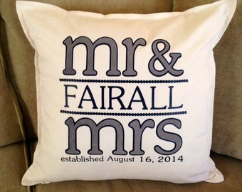 """Personalized Mr and Mrs Established Pillow  - Great Shower/ Wedding/ Anniversary Gift  - 20"""" x 20"""" Pillow and Pillow Case"""