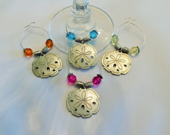 Elegant set of 4 Beach Sand Dollar Wine or Beverage Charms