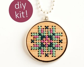 DIY Cross Stitch Necklace // Embroidered Wood Pendant in Silver Frame // DIY Kit