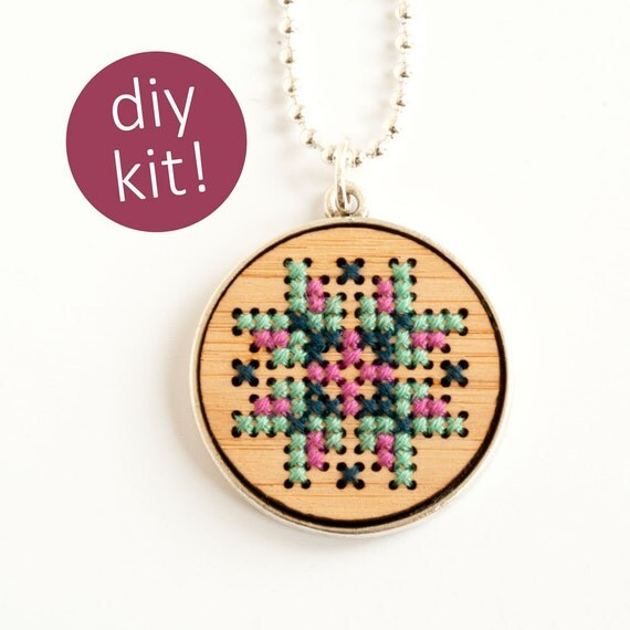 Diy cross stitch necklace embroidered wood pendant in