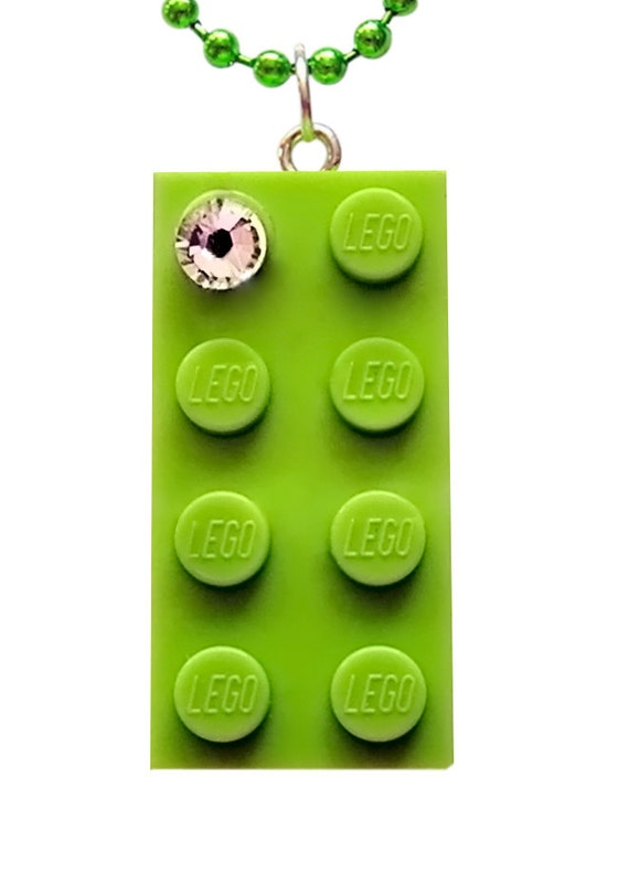 Light Green LEGO (R) brick 2x4 with a Diamond color SWAROVSKI crystal on a Silver/Gold plated trace chain or on a Green ballchain