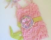 Lace Romper SET- Baby Lace Romper- Baby Romper- Lace Romper- Lace Petti Romper- Girls 1st Birthday- Pink Lace Romper- Flower Girl