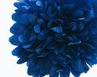 "14"" Navy Blue Tissue Paper Pom- Large Paper Flower Poms- Wedding Decoartion- Baby Shower- Bridal Decor- Hanging Room Pom- Birthday- Nautical"