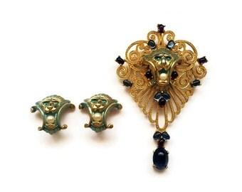 Vintage Joseph Mazer Jeweled Lion Brooch Pendant and Earrings Set