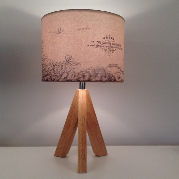 Shipwreck map lamp, circa 1853 repurposed lighting, upcycled lampshade, Nautical charm