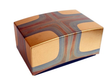 Japanese Modern Lacquer Box. Sophisticated, Elegant. Hand Painted Geometric Pattern with Gold Leaf.