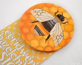 Bumble Bee Fabric Badge, Large Badge, Pin Badge, Fabric Covered Button