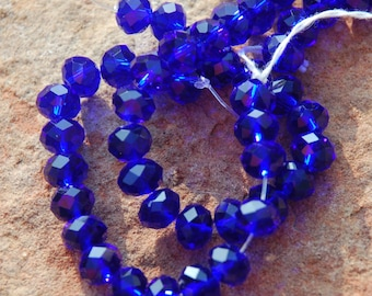 Dark Blue Crystals, Faceted Rondelles, approximately 26-30 beads, 8 mm beads,