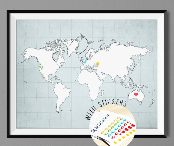 World Map Poster Print with Pins Sticker Set Wall Decor