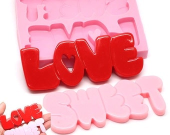 Large Letter Love Sweet Silicone Mold 449L* Chocolate Sugar paste Fondant Letter Tag fimo diy jewellery BEST QUALITY