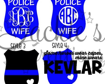Police Wife/Kevlar/Thin Blue Line Decal