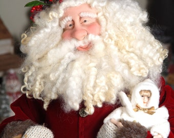 Handmade Santa in Red Velvet with Berry Wreath Hat