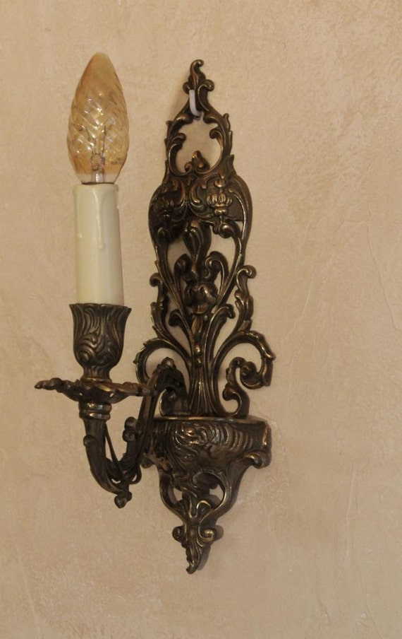 French Brass Wall Sconces : Brass Wall Sconces / Wall Lights Vintage French
