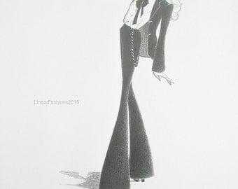 Original fashion illustration - Androgyny - fashion sketch - wall decor - fashion art - pencil drawing - original fashion
