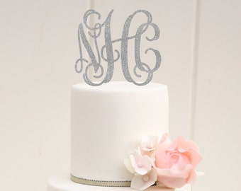 Wedding Cake Topper - Glitter Wedding Cake Topper - Vine Monogram Cake Topper - 0061