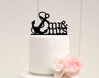 Mr & Mrs Anchor Nautical Wedding Cake Topper - 0067