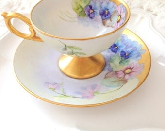 Vintage Footed Signed by Artist Hand Painted Porcelain Tea Cup and Saucer Duo Gifts for Her 1965