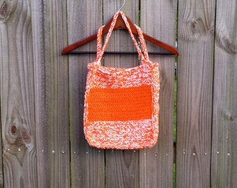 Vintage Medium Large Handmade Hippie Orange White Crochet Prairie Boho Purse Hipster Indie Fashion Purse Tote Bag