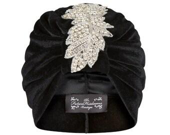 Sophia Leaf Turban in Black