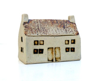 Scottish Village House,  Ceramic Sculpture,  Neutral Decor , Country Cottage