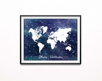 Personalized Nursery Print, Travel Art Print, Nautical, Stars, Night Sky, World Map Print, Adventure Poster, Graduation or Baby Shower Gift
