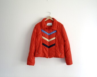 Vintage Red Ski Coat with Vest - Zip Off Sleeves - Convertible Coat - Puffy Coat - Chevron - Swing West - 70s/80s - Mens Small/Womens Medium