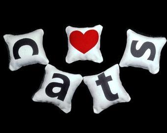 Heart Cats Catnip Pillows (set of 6)