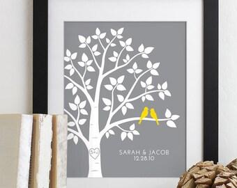 Custom Wedding Gift for Anniversary Gift for Couples Love Birds Family Tree Wall Art