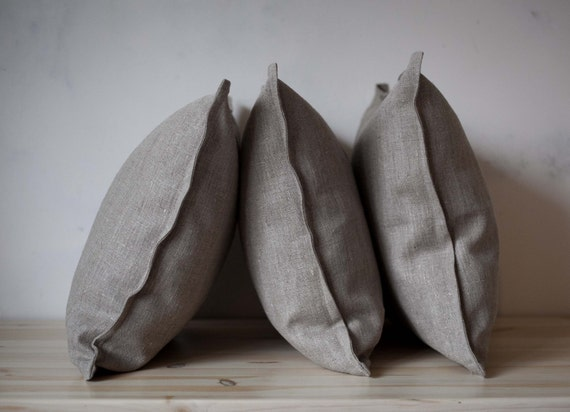Natural linen pillow covers - decorative covers - throw pillows - euro shams -set of 3  0011