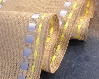 """BURLAP and Double Ribbon Table Runner - 12"""" wide by 60"""" long Natural Burlap - Easter  - Passover - Wedding or Party -  burlap runners"""