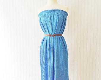 Vintage 70s royal blue dress/ accordion pleat brocade sun dress/ strapless summer dress/ party dress/ accordion pleated skirt