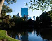 Boston Common Reflection - fine art photography, Prudential Building, cityscape, travel photography, city view, blue home decor,