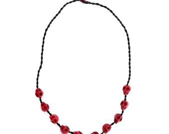 Necklace Handmade Red Skulls Beaded in Thailand FAIR Trade Wax Cotton String (N409-R)