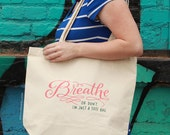 Breathe Tote Bag Large, Sturdy, Heavyweight Canvas Grocery Bag by Emily McDowell