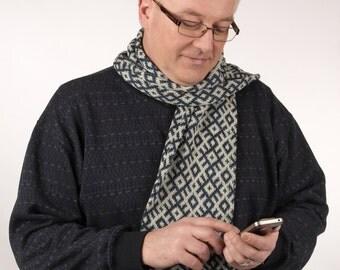 Blue Cotton scarf hand knit, fair isle with Latvian Symbols