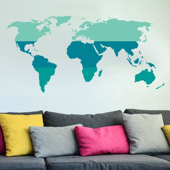 tri color world map wall decal custom vinyl art stickers for. Black Bedroom Furniture Sets. Home Design Ideas