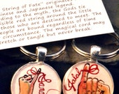 his hers, boyfriend girlfirend keychain set, red string of fate, hand painted